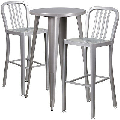 24'' Round Silver  Metal Indoor-Outdoor Bar Table Set With 2 Barstools