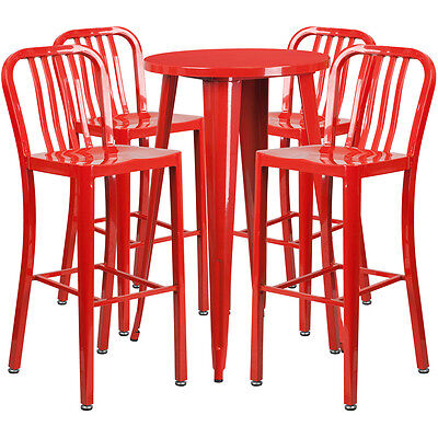 24'' Round Red Metal Indoor-Outdoor Bar Table Set With 4 Barstools