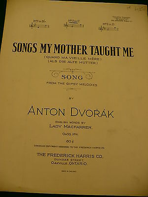 Songs My Mother Taught Me Gipsy melodies sheet music Anton Dvorak
