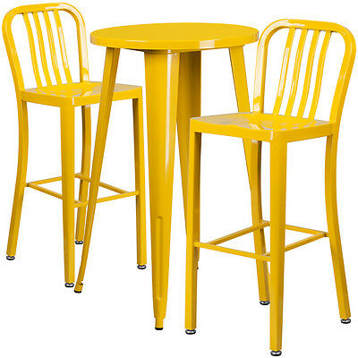 24'' Round Yellow Metal Indoor-Outdoor Bar Table Set With 2 Barstools