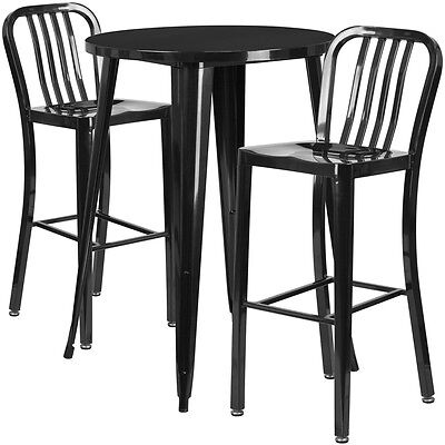 30'' Round Black Metal Indoor-Outdoor Bar Table Set With 2 Barstools