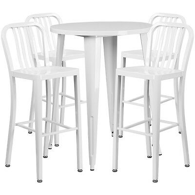 30'' Round White Metal Indoor-Outdoor Bar Table Set With 4 Barstools