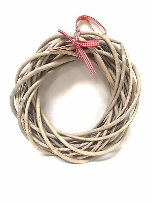 Gisela Graham Bleached Round Willow Twig Christmas Wreath Door Decoration Gift