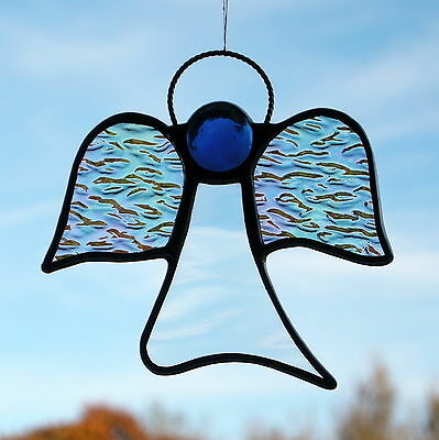 Abstract Stained Glass ornament (Angel) clear and iridescent texture glass, blue