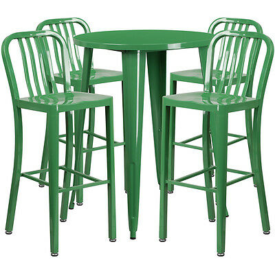 30'' Round Green Metal Indoor-Outdoor Bar Table Set With 4 Barstools