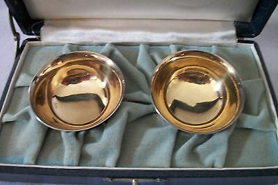 Exquisite Silver Finely Detailed Boxed Antique Pair Of Japanese Matsuya Sake Cup