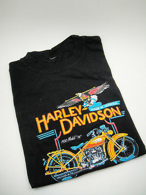 VINTAGE 80's HARLEY DAVIDSON T-shirt 1930 Model 74 Motorcycle FRUIT of the LOOM