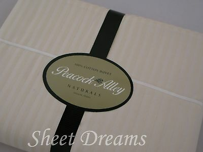 Peacock Alley SONNET Natural Egyptian Cotton Twin Duvet Cover Sateen Stripes New