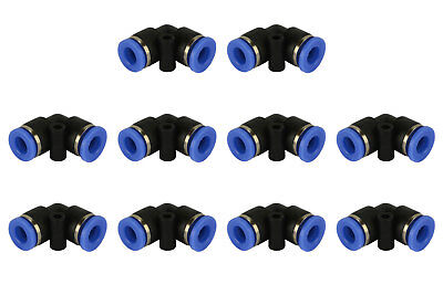 "10 Piece Pneumatic Air Quick Push to Connect Fitting 1/4"" OD ""L"" Elbow Tube 6mm"