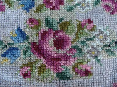 Vintage Handmade Cross Stitch Wool Rug Floral Shabby Chic Cottage Wall Hanging