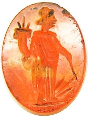 Ancient Roman Carnelian Gemstone Intaglio of Tyche / Fortuna c. 2nd century A.D.