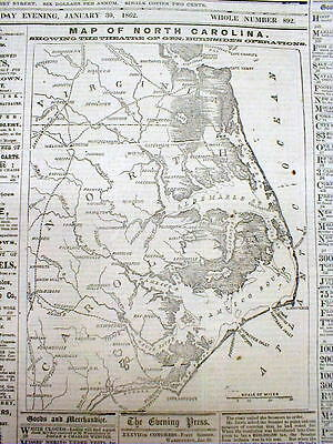 Orig 1862 Civil War newspaper w large detailed front page MAP of NORTH CAROLINA