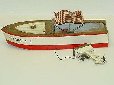 Vintage Structo I Wooden Boat With Outboard Motor, Toy