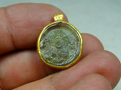Ancient Gold & Glass Pendant Christ Image Christian Byzantine 400-600 Ad