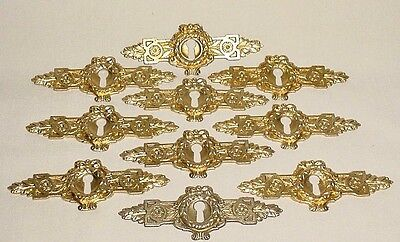 Antique Lot 10 Gilt Brass Cabinet Furniture Escutcheons Key Holes France 3.60""