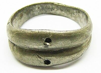Nice Ancient Roman Double Banded Silver Wedding Ring c. 3rd Century A.D.