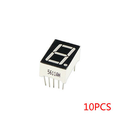 "10pcs Common Cathode 10-Pin 1 Bit 7 Segment 0.56"" Red LED Display Digital Tube"