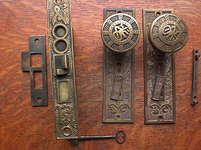 "Antique Bronze Entry Doorknobs Doorplates & Lock ""Arabic"" Mallory Wheeler 1884"