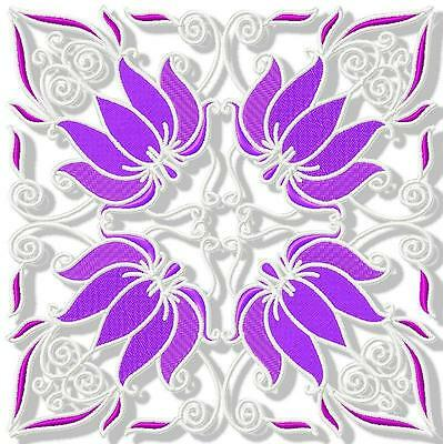 Purple Lilies Blocks  12 Machine Embroidery Designs 3 Sizes