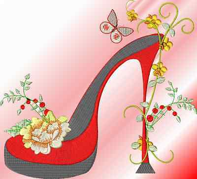 FANCY SHOES 10 MACHINE EMBROIDERY DESIGNS 4 sizes