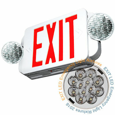LED Exit Sign & Emergency Light – High Output - RED Compact Combo UL COMBO Lig