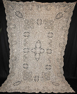 "ANTIQUE TABLECLOTH RENAISSANCE TAPE LACE NEEDLEWORK c1900  105"" x  70"""