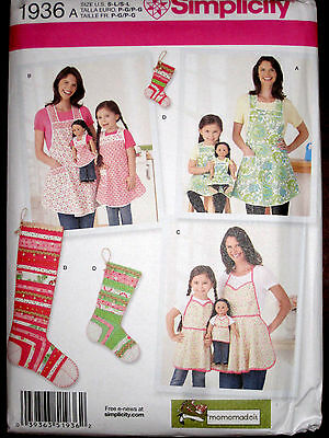 """Simplicity Misses Childs 18"""" Doll Matching Apron Stocking Ornaments Pattern 1936"""