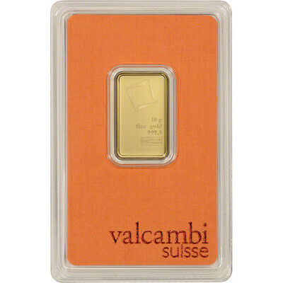 10 gram Gold Bar - Valcambi Suisse - 999.9 Fine in Sealed Assay