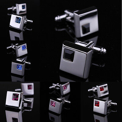 New Fashion Men Wedding Business Silver Stainless Steel Shirt Crystal Cufflinks