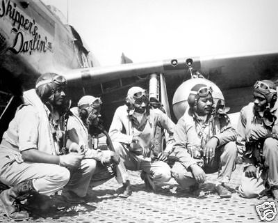 WWII Tuskegee Airmen Fighter Pilots Italy 8x10 Photo J-428