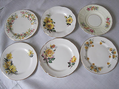 Six Vintage English Floral Fine Bone China Plates In Yellow  Shades