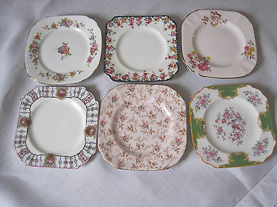 Six Vintage English Floral Fine Bone China Plates In Square Shapes