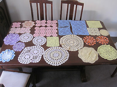 Large Lot Of 25 Hand Worked Colourful Crochet Lace Doilies
