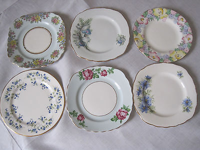 Six Vintage English Floral Fine Bone China Plates In Blue Shades