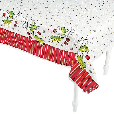 Christmas Xmas Party Holly Pop Plastic Rectangular Tablecloth Table Cover