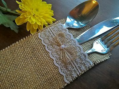BURLAP LACE CUTLERY HOLDERS WEDDING TABLE DECORATION Hessian wedding party