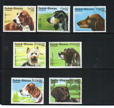 Guinea-Bissau dogs 7 old used stamps
