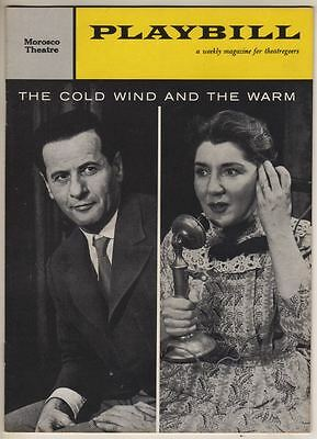 """Eli Wallach & Maureen Stapleton  Playbill  """"The Cold Wind and the Warm""""  1959"""