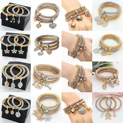 3PCS Gold Silver Rose Gold Plated Crystal Cuff Bangle Charm Elastic Bracelet