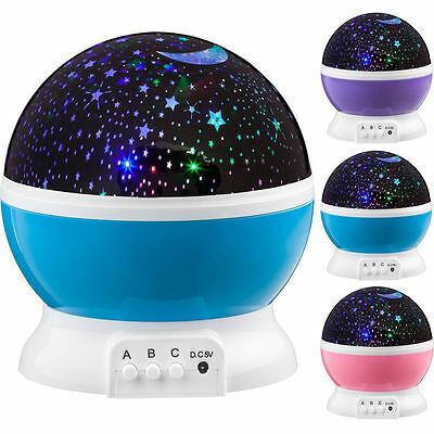 Rotating Projector Starry Night Lamp Star Sky Romantic Projection 4 LED Novelty