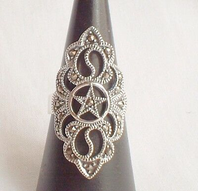 Ornate 925 Silver Marcasite Pentagram Pentacle Large Ring~Wicca~Pagan~Jewellery