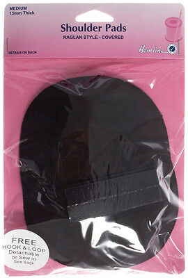 Shoulder Pad, Raglan Style  Black, Medium. Detachable or sew in cotton foam pads