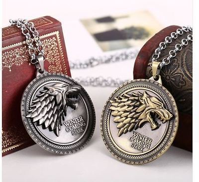 Game Of Thrones House Of Stark  Necklace Winter Is Coming Wolf Head Metal