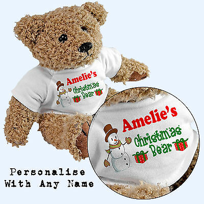 Personalised Christmas Teddy Bear - Add Any Name - Xmas Gift Stocking Filler