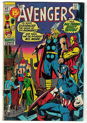 Marvel Comics THE AVENGERS Issue 92 All Things Must End! FN