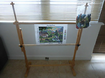 LARGE WOODEN FLOOR STANDING CROSS STITCH TAPESTRY FRAME + Wool 107cm High