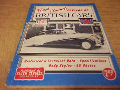 Floyd Clymer's Catalog of British Cars, 1951, 112 pages