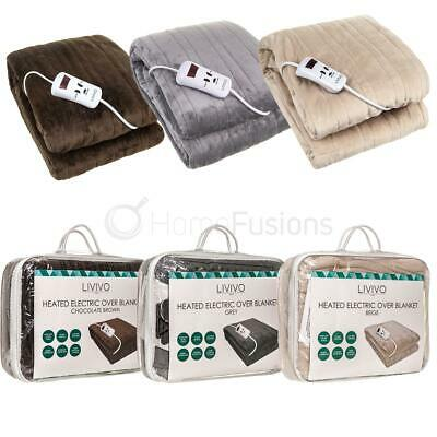 Heated Electric Over Throw Over Blanket Washable Warm Miro Fleece & Control