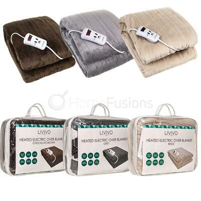 Heated Electric Throw Over Blanket Washable Polyester Warm Fleece & Control