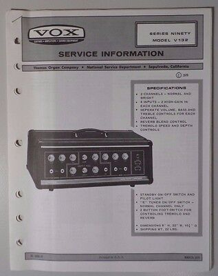 Original Vox Amplifier - Series Ninety V132  - Service Information